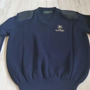 Vintage Unique Falconry School Wool Men Sweater L